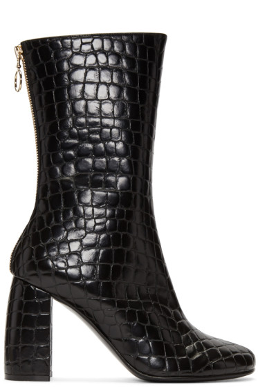 Stella McCartney - Black Croc-Embossed Boots