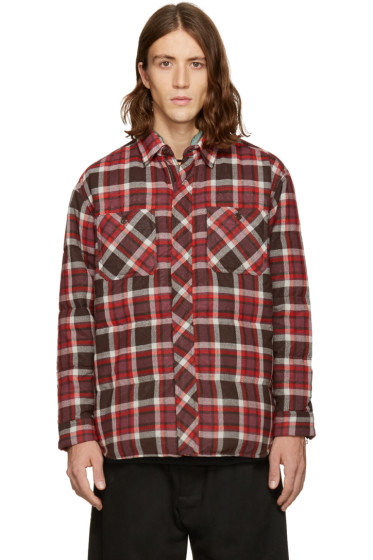 Facetasm - Brown Down Check Shirt Jacket