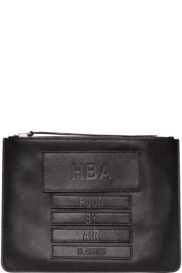 Hood by Air - Black Leather Moma Zip Pouch