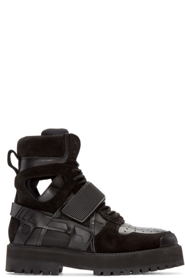 Hood by Air - SSENSE Exclusive Black Leather & Suede Avalanche Boots