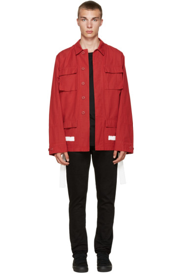Off-White - Red Brushed Diagonals Sahariana Jacket