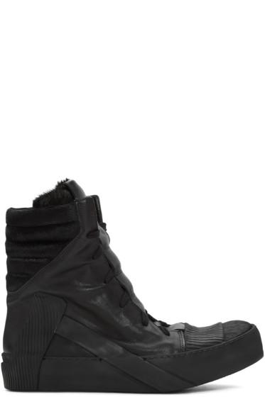 Boris Bidjan Saberi - Black Leather High-Top Sneakers