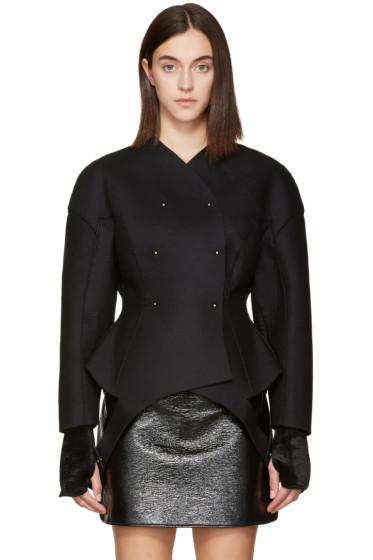 Esteban Cortazar - Black Wool Round Jacket