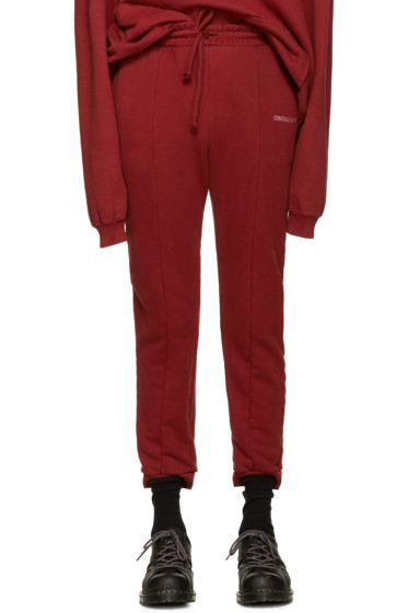 Vetements - Burgundy Embroidered Logo Lounge Pants
