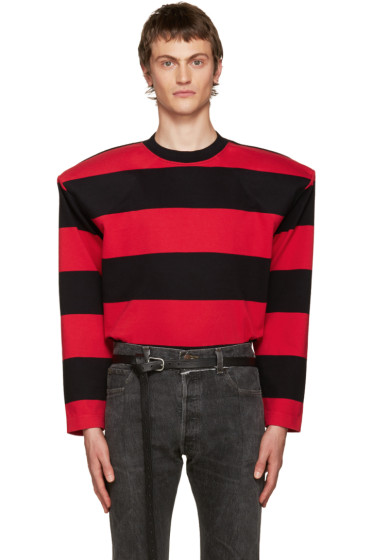 Vetements - Black & Red Football Shoulder T-Shirt