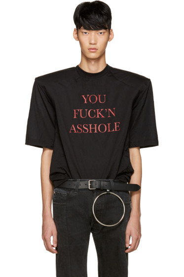 Vetements - SSENSE Exclusive Black 'You Fuck'n Asshole' Football Shoulder T-Shirt