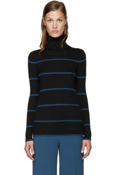 Fendi - Black & Blue Striped Turtleneck
