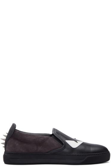 Fendi - Black Monster Slip-On Sneakers
