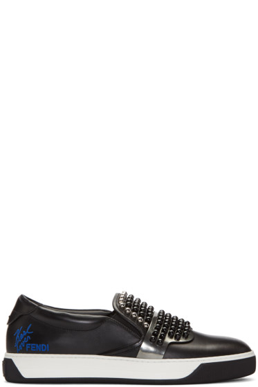 Fendi - Black Studded Karlito Sneakers