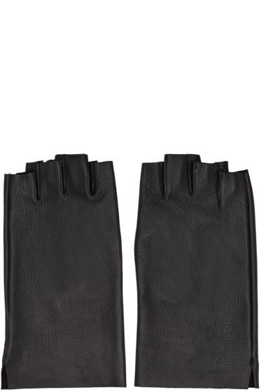 Attachment - Black Leather Fingerless Gloves