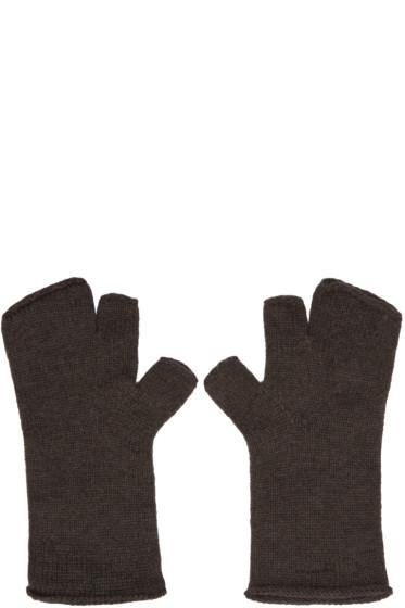 Attachment - Grey Wool Fingerless Gloves