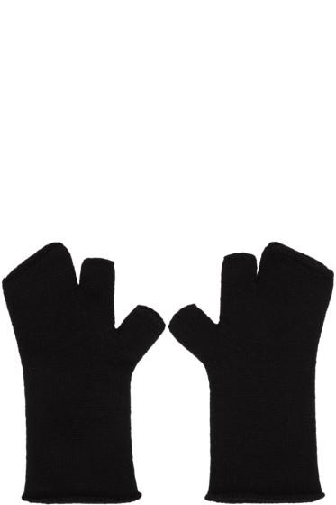 Attachment - Black Wool Fingerless Gloves