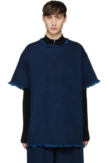 Marques Almeida - Indigo Frayed Denim T-Shirt