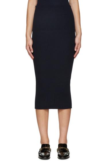 Victoria Beckham - Navy Ribbed Wool Skirt