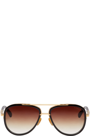 Dita - Black & Gold Mach-Two Aviator Sunglasses