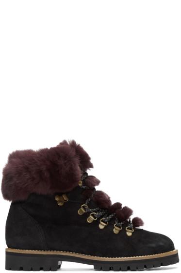 Mr & Mrs Italy - Black Chinchilla Fur Boots