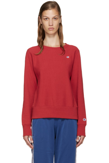 Champion Reverse Weave - Red Small Logo Pullover
