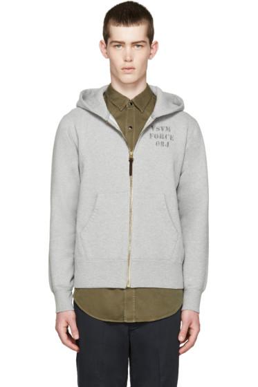 Visvim - Grey Stencil Zip-Up Hoodie