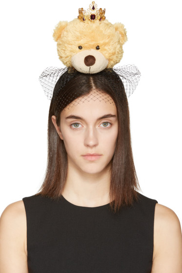 Dolce & Gabbana - Beige Crowned Teddy Bear Headband