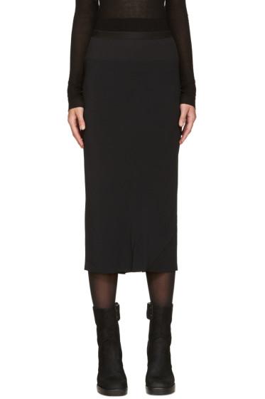 Rick Owens - Black Asymmetrical Drape Skirt