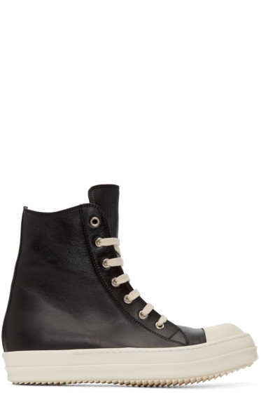 Rick Owens - Black Leather High-Top Sneakers
