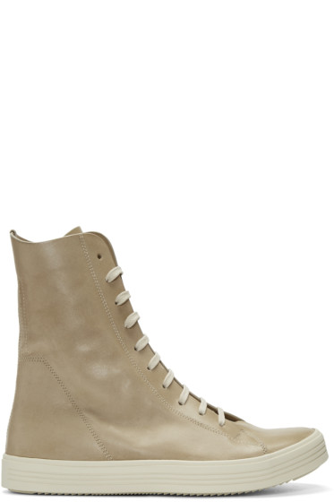Rick Owens - Beige Mastosneaks High-Top Sneakers