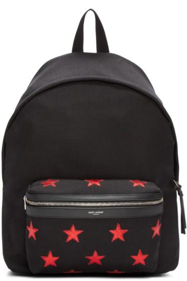 Saint Laurent - Black Canvas Stars Backpack