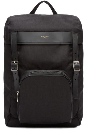 Saint Laurent - Black Canvas Buckle Backpack