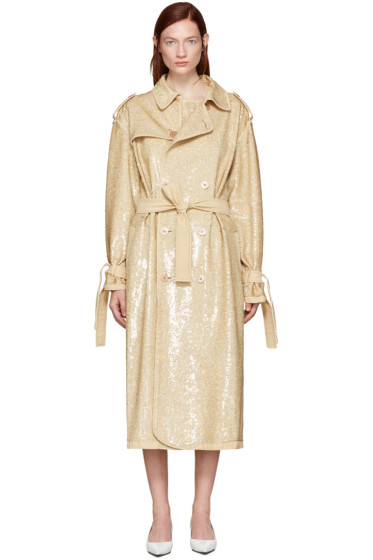 Ashish - Beige Sequin Trench Coat