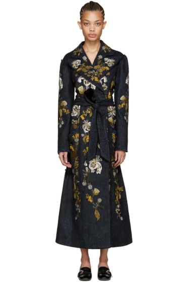 Erdem - Blue Embroidered Macey Coat