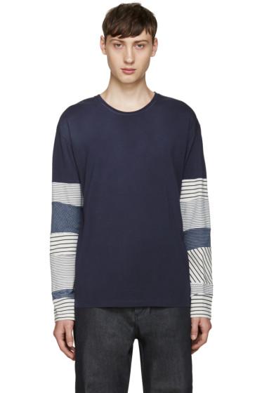 Loewe - Navy Striped Sleeve T-Shirt