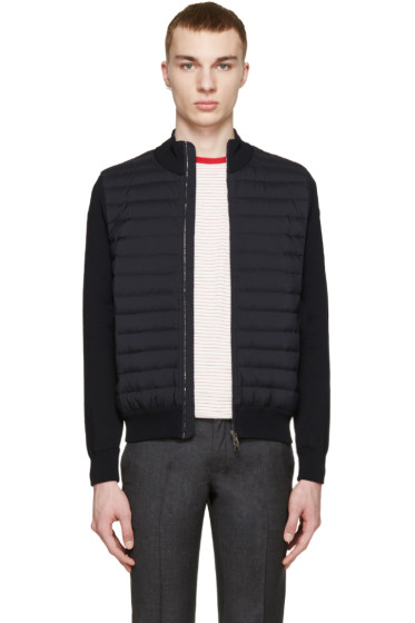 Moncler - Navy Quilted Panel Jacket