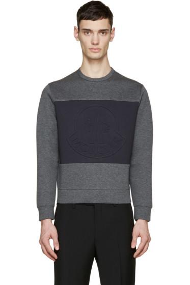 Moncler - Grey Neoprene Logo Pullover