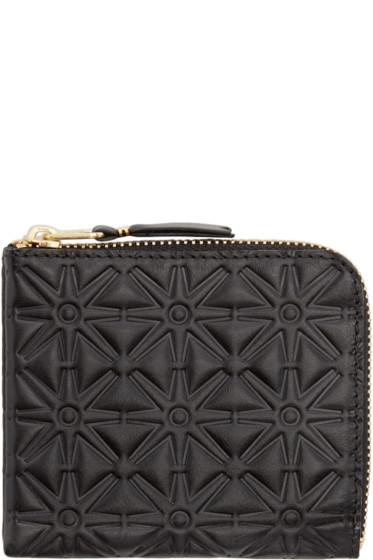 Comme des Garçons Wallets - Black Embossed Leather Line 110 Wallet
