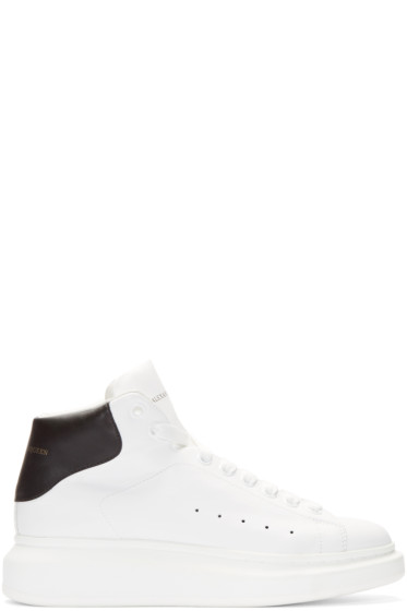 Alexander McQueen - Ivory & Black Leather High-Top Sneakers