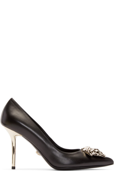 Versace - Black Leather Medusa Pumps