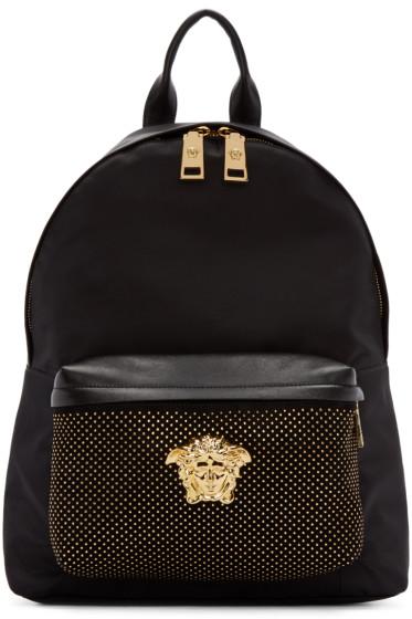 Versace - Black Studded Medusa Backpack