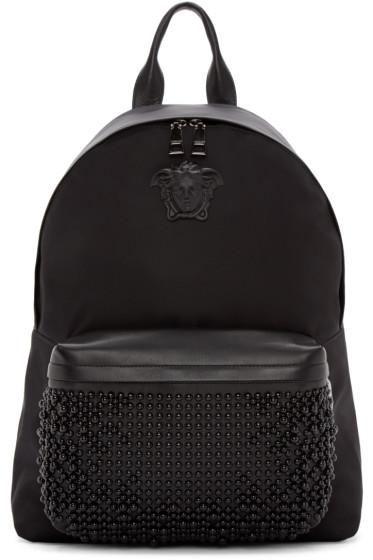 Versace - Black Nylon Studded Backpack