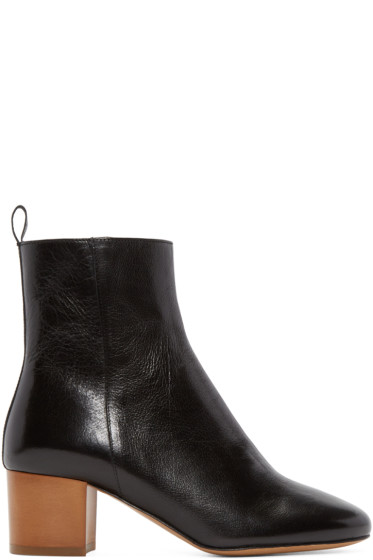 Isabel Marant - Black Leather Deyis Ankle Boots