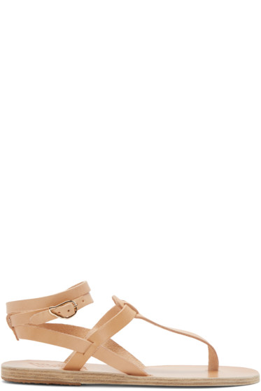 Ancient Greek Sandals - Beige Leather Estia Sandals