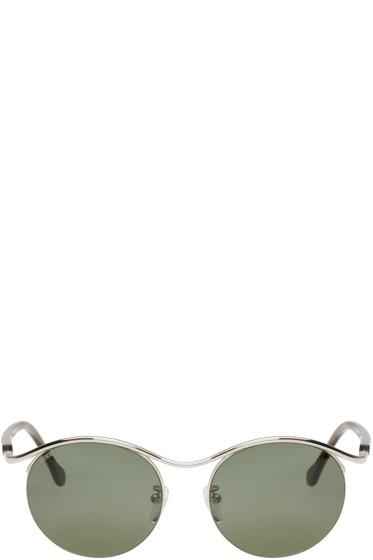 Loewe - Silver & Green Gaia Sunglasses