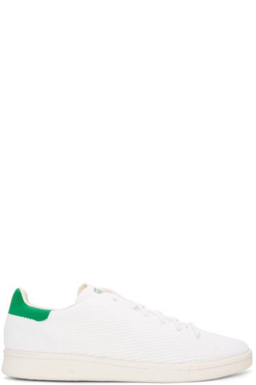adidas Originals - White & Green Primeknit Stan Smith Sneakers