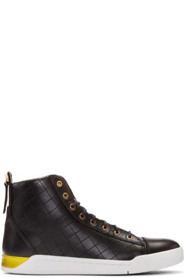 Diesel - Black Quilted High-Top Sneakers