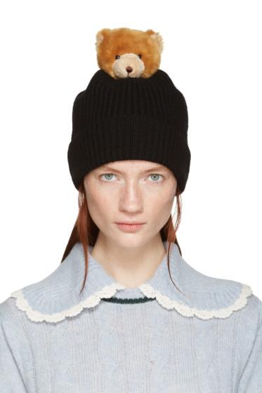 Dolce & Gabbana - Black Bear Knit Beanie