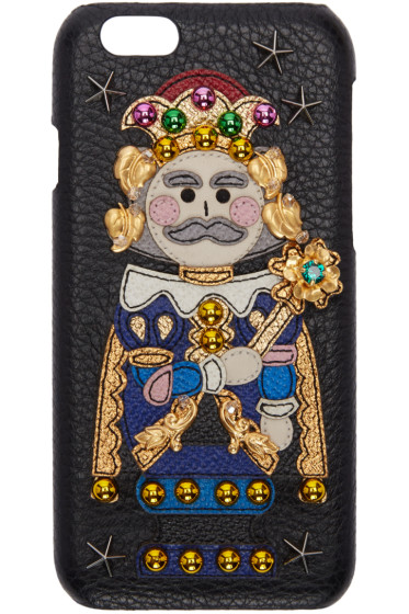 Dolce & Gabbana - Black Embroidered King iPhone 6 Case