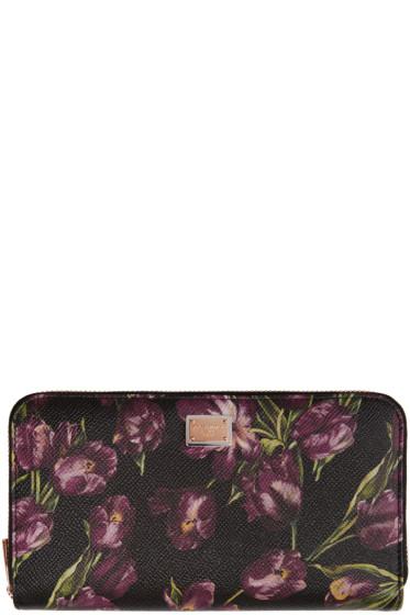 Dolce & Gabbana - Black & Purple Tulip Wallet