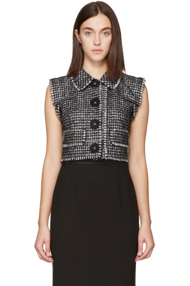 Dolce & Gabbana - Black Tweed Cropped Vest