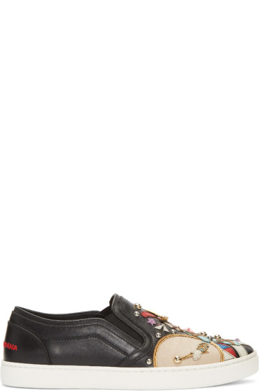 Dolce & Gabbana - Black Soldier Slip-On Sneakers