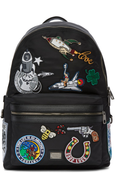 Dolce & Gabbana - Black Volcano Patches Backpack