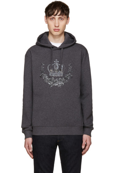 Dolce & Gabbana - Grey Embroidered Hoodie